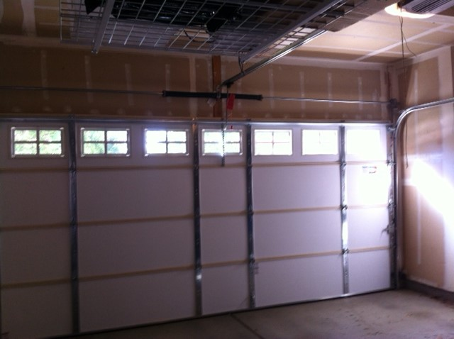 Interior: 15x7 Clopay Garage Door Insulated Short Panel Color Almond With  Colonial 509 Windows